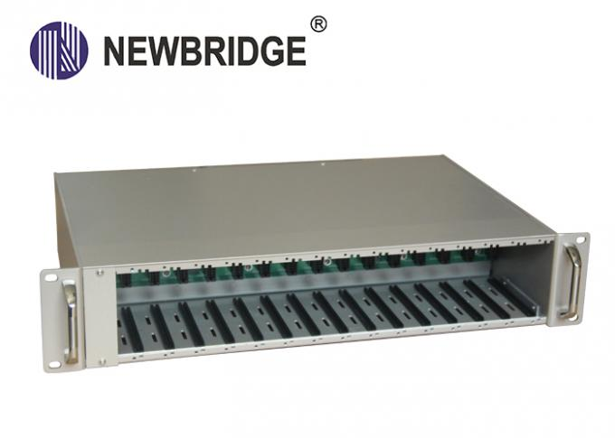 2U 16 Slots Rack Mount Media Converter , Low Power Loss Rack Mount